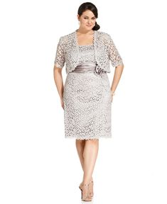 R Richards Plus Size Dress and Jacket, Sleeveless Crochet-Lace - Plus Size Dresses - Plus Sizes - Macy's