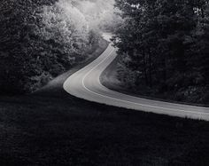 "Paul Caponigro, Road, Blue Ridge Parkway, VA, 1965, Silver gelatin print, 10 x 13"""