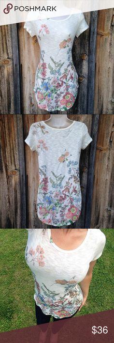 NWT Cream Floral Print Knit Long Top Size S So cute! Sadie & Sage Tops Tunics
