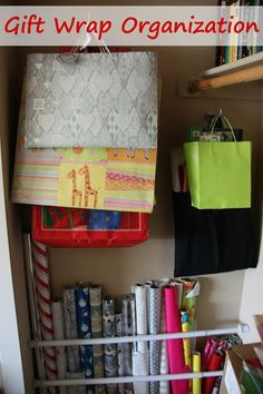 Gift wrap organization - great ideas here!