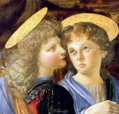 Leonardo Da Vinci Baptism of Christ, detail