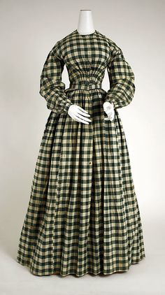 Checked cotton dress, American, 1840-45.