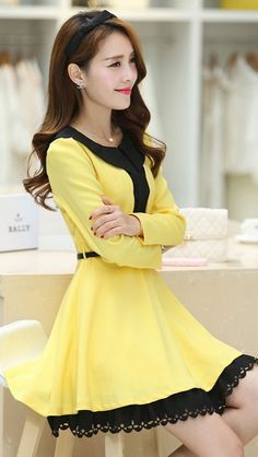 Cute Dress Layered Skirt Ruffled Chest YRB0624