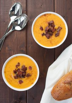 Slow-cooker Sweet Potato Soup with Maple Bacon | realfoodandicecream.com