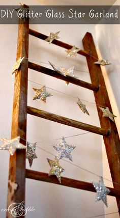 Glitter Glass Christmas Star Garland - Create and Babble