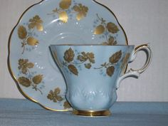 Royal Albert Tapered Blue & Gold Tea Cup and Saucer Set with Gold Trim in Pottery & Glass, Pottery & China, China & Dinnerware, Royal Albert | eBay