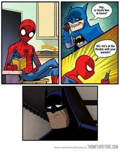Funny sad Batman and Spiderman