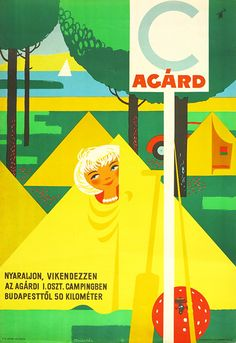 Camping in Agard travel vintage poster / Camping Agárd 1955 Artist: Szücs Pál