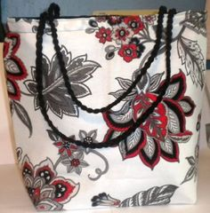 White Red Flower tote bag, fabric tote bag, white and Black tote bag, lined tote #Handmade
