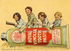 Propaganda--En cuanto a la higiene bucal, uno de los inventos más populares fue la pasta dentífrica, cuyo nacimiento fue en 1896 de la mano de Colgate. Unos años más tarde, en 1938, nace el cepillo de dientes de nylon, que es el más parecido al que tenemos en la actualidad.