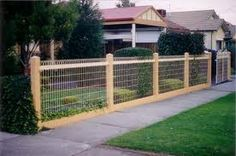 wooden fence with woven wire fence - Front Yard Fence, Dog Fence, Fence Gate, Fenced In Yard, Deck Railing Design, Fence Design, Fence Weaving, Fence Screening, Fence Landscaping