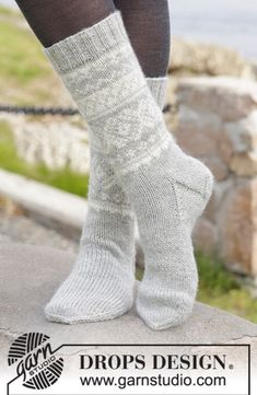 """Silver Dream Socks - Knitted DROPS socks with Norwegian pattern in """"Karisma"""". Size 35 to 46 - Free pattern by DROPS Design Knitted Boot Cuffs, Knitted Slippers, Wool Socks, Drops Design, Crochet Socks, Knitting Socks, Knitting Patterns Free, Free Knitting, Crochet Patterns"""