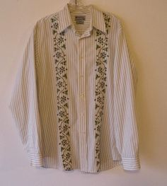 lucky brand, 100% cotton, embroidered, button down shirt, size medium #LuckyBrand #ButtonFront