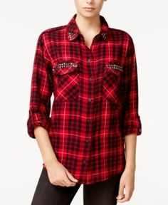 Sanctuary Studded Boyfriend Shirt - Red XL