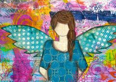 Art Angel  Mixed Media print on fine art paper.  8x10 Gift
