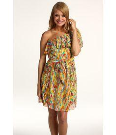 Laundry by Shelli Segal Printed One Shoulder Drape Dress