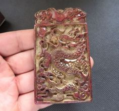 China-Antique-culture-old-jade-hand-carved-dragon-Amulet-Pendant-L342