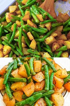 Easy Healthy Recipes, Easy Dinner Recipes, Vegetarian Recipes, Easy Meals, Cooking Recipes, Healthy Dinners, Healthy Snacks, Green Beans And Potatoes, Roasted Green Beans