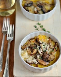 Broiled Polenta with Mushrooms and Cheese [Tastefully Julie]