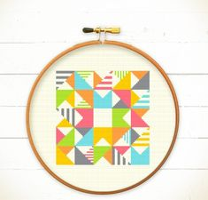**WE+only+accept+Paypal,+NO+Stripe+=_=+sorry.+OR+visit+our+Etsy+shop+:+redbeardesign.etsy.com+**  Modern+Geometric+Cross+stitch+pattern+PDF+-+Play+with+Triangles+n+Strips  A+funny+and+modern+stitch+pattern,+plus+colorful+design.+It+is+a+funny+idea+with+triangles+and+strips.+It+bring+you+happy...
