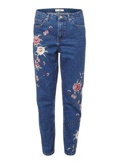 TOPSHOP High waist mom jeans met geborduurde bloemen • de Bijenkorf
