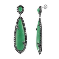 Lavish by TJM Sterling Silver Chrysoprase Drop Earrings - Made with Swarovski Marcasite