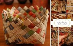 How to weave a newspaper basket.