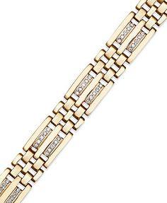 Men's Diamond Bracelet, 10k Gold Diamond Bracelet (1/4 ct. t.w.)