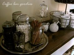 Coffee Bar Goodies for the Coffee Bar! Great use for all my Mason jars. http://www.thenaturalside.mysiselkaffe.com