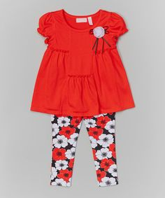 This Orange Pocket Tunic & Floral Leggings - Infant, Toddler & Girls by Kids Headquarters is perfect! #zulilyfinds