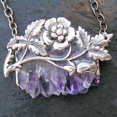 Amethyst Druzy Necklace, February Birthstone, Raw Stone Jewelry, Purple Necklace, Spring Jewelry, Druzy Jewelry, Amethyst Jewelry