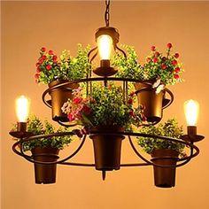 (EU Lager)Stilvoller Kronleuchter Vintage Topfpflanze Design im Restaurant 6-Flammig