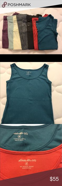 Eddie Bauer tank tops (7) size M Lot of 7 Eddie Bauer tank tops. EUC. No stains or holes. Beautiful colors for spring and summer. Eddie Bauer Tops Tank Tops