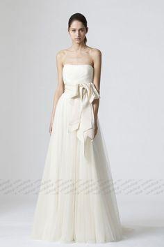 Aライン ウェディングドレス ビスチェ フロア丈 オフホワイト 0241511304