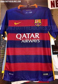 La nueva Barcelona 2015-16 Primera equipación contará con rayas azules y rojas horizontales por primera vez en la historia del club. Los aros aparecen sólo en la parte frontal de la camiseta, mientras que la parte superior y las mangas de la nueva Barcelona 15-16 camisa son de color azul.