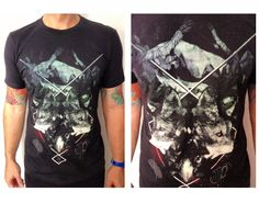 Mirror-Image wolf print tee for Men! Available S & M!