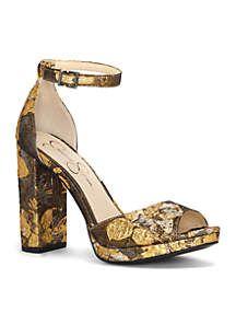 fb89fec36675 Jessica Simpson Jenee Metallic Floral High Heels