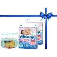 2 PACKAGE  Moony  Nappies  sizes M + 1 box wet wipes