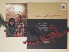my DIY holiday cards with hand calligraphy by me --bedsidesign
