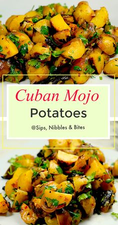 Cuban Mojo Potatoes Inspired by Yucca con Ajo these Cuban Mojo Potatoes cooked on the grill in foil packets are loaded with flavor Combined with garlic onions olive oil l. Cuban Dishes, Food Dishes, Spanish Dishes, Mexican Food Recipes, Vegetarian Recipes, Cooking Recipes, Spanish Food Recipes, Cooking Ham, Potato Dishes