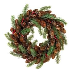 Christmas Wreath Holiday Pine Cone Berry Decorations Winter Season Home Decor #HomeLocomotion
