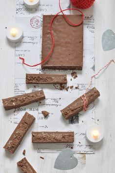 homemade chocolate torrone.