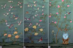 Griffin & Wong Wallpaper: Chinoiserie Papers - Shen de Tang Shen de Tang is a very traditional and popular Chinoiserie design that. Wallpaper Panels, Wallpaper Decor, Japanese Wall, Badge Creator, Chinoiserie Wallpaper, World Of Interiors, Home Improvement, Hand Painted, Interior Design