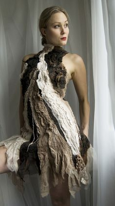 Dresses SALE  Nuno felt eco dress  Inamorata OOAK  Last by vilte