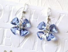 Gemstone Lucky Clover Earrings Tanzanite Blue by LemonDreamHouse, $46.00