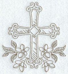 """Embroidery Designs Ideas Cross with Flowers (Redwork) ~ So I realize this is a different type all together of """"Needle""""work.but would be a gorgeous tatttoo! Folk Embroidery, Ribbon Embroidery, Machine Embroidery Designs, Embroidery Stitches, Embroidery Patterns, Embroidery Boutique, Cross Coloring Page, Cross Drawing, Altar Cloth"""