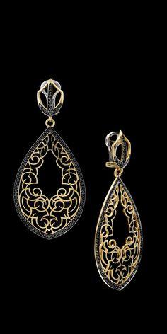 18K Black Diamond Earrings