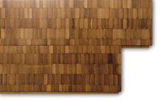 Plyboo - PlybooSquared  Manufacturer Smith and Fong's new PlybooSquared is a mosaic of 5/8-inch-thick end-grain bamboo blocks, in an amber color that results when bamboo is toasted until its sugar caramelizes. An alternate color choice offers a marbled tortoise-shell look. Formed into urea-free, 3-foot planks and 30- by 72-inch panels, the material may be deployed vertically or horizontally. 212-924-5558; robin-reigi.com.