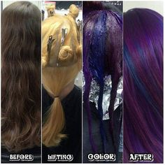 Cosmic Purple and Blue Pinwheel Hair Color : I did a pinwheel with a solid panel underneath in the back. I used Pravana Vivids and Joico Intensities and made violet, blue violet and blue to rotate. <<< looks gorgeous Purple Hair, Ombre Hair, Violet Hair, Hair Color Techniques, Fantasy Hair, Haircut And Color, Hair Dye Colors, Funky Hairstyles, Dye My Hair