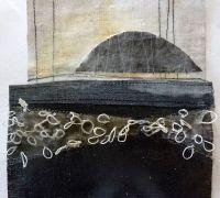 Debbie Lyddon Marshscape Collage #5, Linen, wax , linen thread